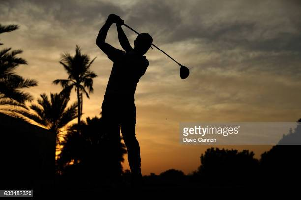 Wade Ormsby of Australia plays his tee shot on the par 5 10th hole during the first round of the 2017 Omega Dubai Desert Classic on the Majlis Course...