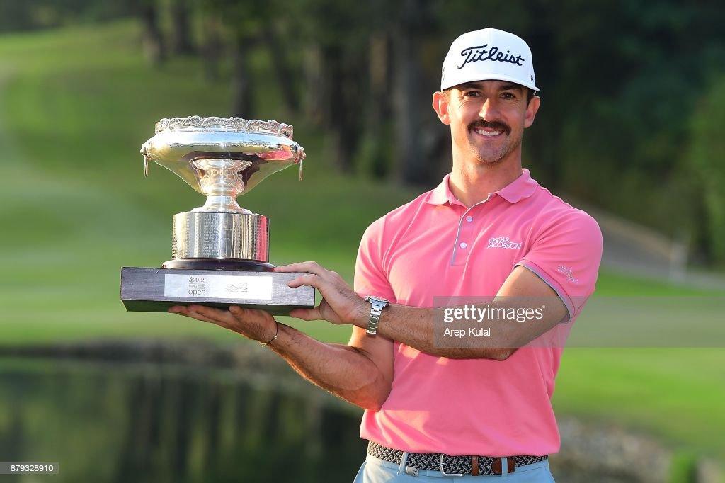 Wade Ormsby of Australia pose with the trophy after winning the UBS Hong Kong Open at The Hong Kong Golf Club on November 26, 2017 in Hong Kong, Hong Kong.