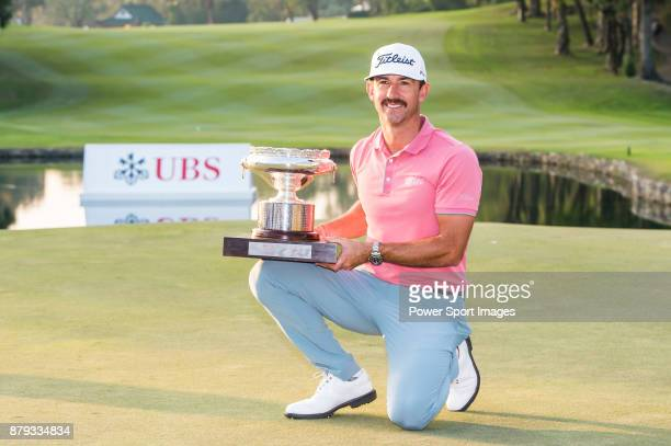 Wade Ormsby of Australia receives the prize and the trophy after winning the UBS Hong Kong Open 2017 at the Hong Kong Golf Club on 26 November 2017...