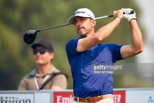 Wade Ormsby of Australia tees off from the 10th hole during a practice round ahead of the 2019 Australian Golf Open at The Australian Golf Club on...