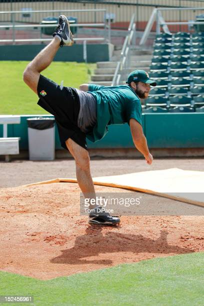 Wade Patrick Mackey of Team South Africa pitches during the workout for the World Baseball Classic Qualifier at Roger Dean Stadium on September 17,...