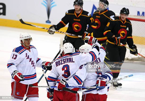 Wade Redden of Rangers is celebrating with his team mates his 2:0 goal during the Victoria Cup game between NY Rangers and SC Bern at the PostFinance...