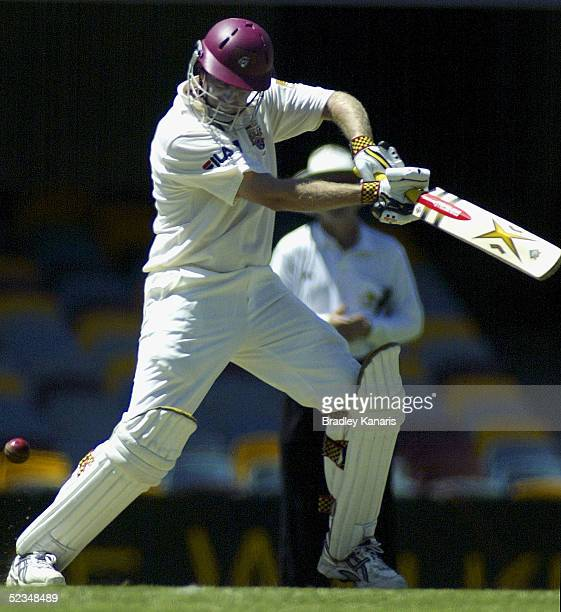 Wade Seccombe attacks the ball during the Pura Cup match between the Queensland Bulls and Western Australia at Brisbane Cricket Ground on March 10...