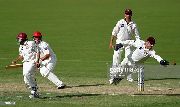 Wade Seccombe dives to make a catch during the Pura Cup match between the Southern Redbacks and the Queensland Bulls played at Adelaide Oval in...