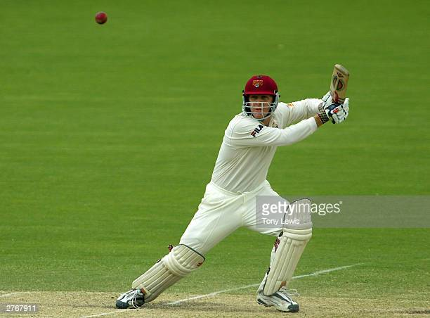 Wade Seccombe hits a shot during the Pura Cup match between the Southern Redbacks and the Queensland Bulls at Adelaide Oval November 29 2003 in...