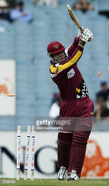Wade Seccombe of Queensland is bowled out during the ING Cup cricket match between the Victorian Bushrangers and Queensland Bulls at the Melbourne...