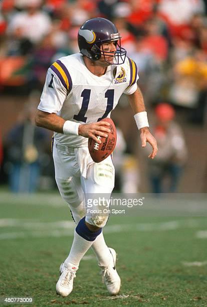 Wade Wilson of the Minnesota Vikings scrambles with the ball during an NFL Football game circa 1989 Wilson played for the Vikings from 198191
