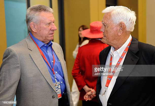 Wadell Wilson talks with Junior Johnson during the Hall of Fame Selection at NASCAR Hall of Fame on May 22 2013 in Charlotte North Carolina