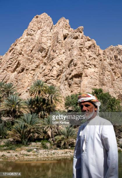 wadi beni khalid oasis in central oman, portrait  of a man. - arabian peninsula stock pictures, royalty-free photos & images