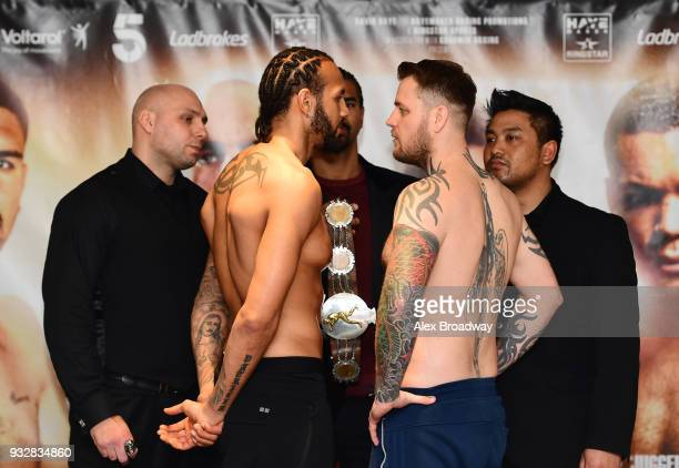 Wadi Camacho and Danny Couzens attend the Hayemaker Ringstar Weigh In at The Park Plaza Victoria on March 16 2018 in London England The Double Header...