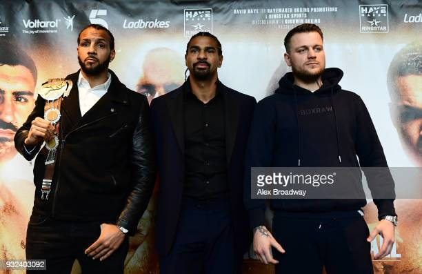 Wadi Camacho David Haye and Danny Couzens pose for a photograph during a press conference at Chino Latino Park Plaza Riverbank on March 15 2018 in...