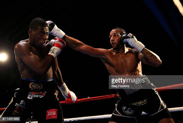 Wadi Camacho of England and Isaac Chamberlain of England exchange blows during their Southern Area Championship contest at York Hall on September 29...