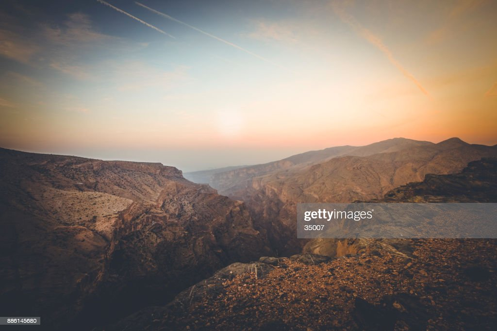 wadi ghul, grand canyon of oman : Stock Photo