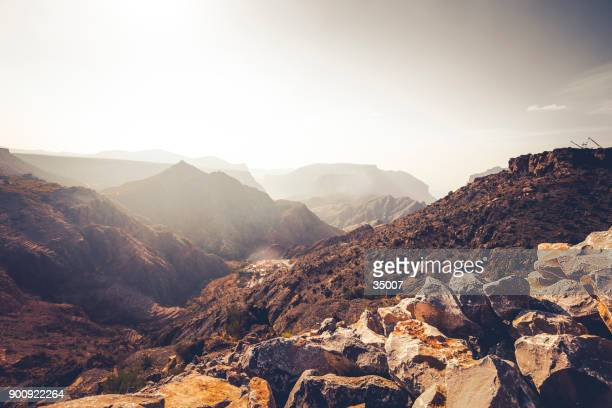 wadi ghul, grand canyon of oman - gulf countries stock pictures, royalty-free photos & images