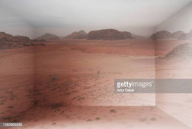 wadi rum desert landscape inside home using virtual reality simulator. - art and craft product stock pictures, royalty-free photos & images