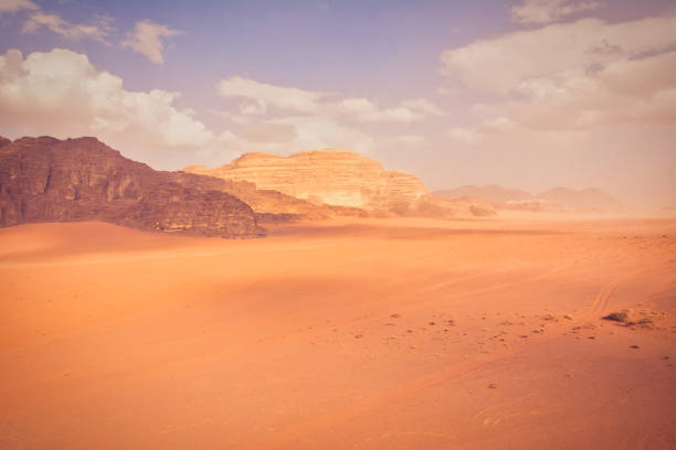 Wadi Rum Desert Scene In Jordan. Wide Angle View Of Dramatic Landscape