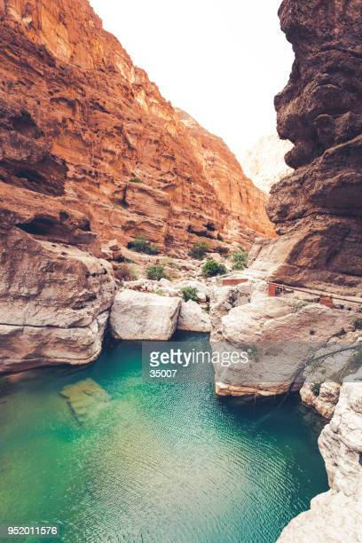 wadi shab riverbed, oman