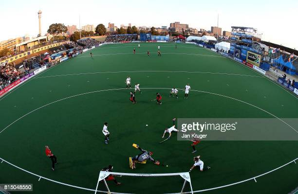 Wael Noureldin goalkeeper of Egypt saves a shot at goal during day 4 of the FIH Hockey World League Men's Semi Finals Pool B match between Egypt and...