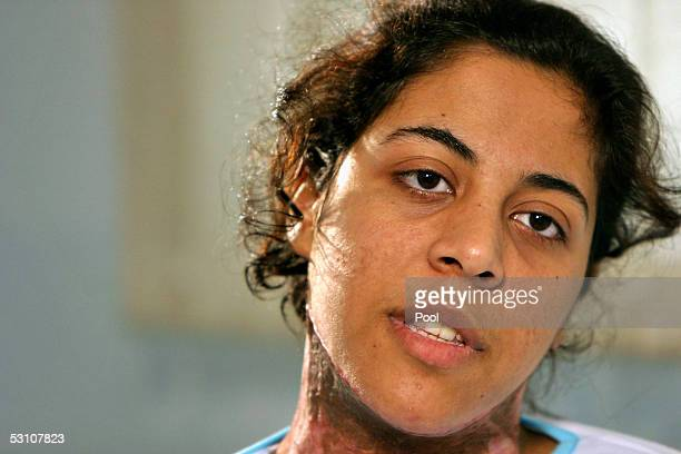 Wafa Samir Ibrahim a Palestinian woman suspected of being a suicide bomber speaks to the press at Sikma prison on June 20 2005 in Ashkelon Israel The...