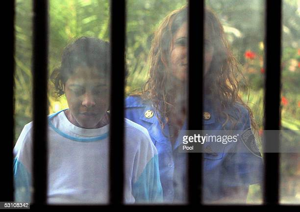 Wafa Samir Ibrahim a Palestinian woman suspected of being a suicide bomber is seen in custody at Sikma prison on June 20 2005 in Ashkelon Israel The...