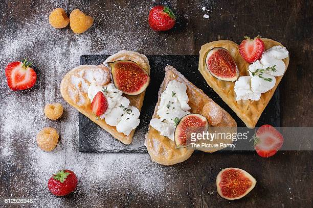 wafers, berries and cream cheese.