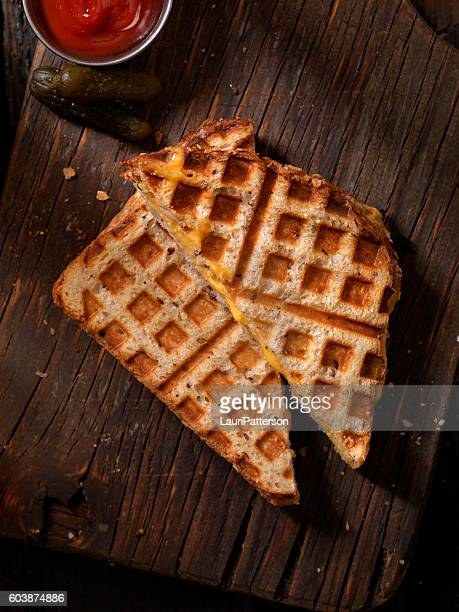 Waffle Iron Grilled Cheese Sandwich