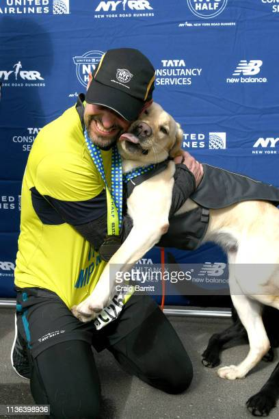Waffle joins Guiding Eyes for the Blind President and CEO Thomas Panek as he runs the first ever 2019 United Airlines NYC Half Led Completely by...