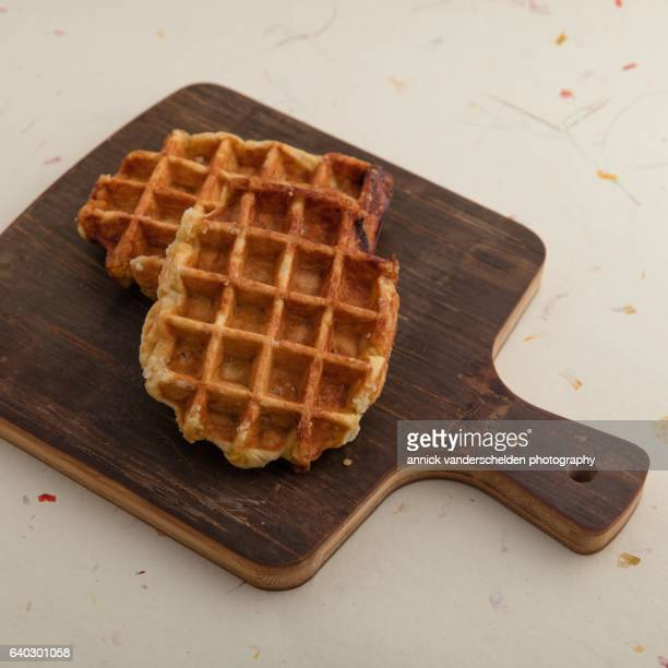Waffle on kitchen board.