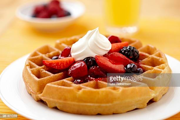 Waffle with fruit and cream