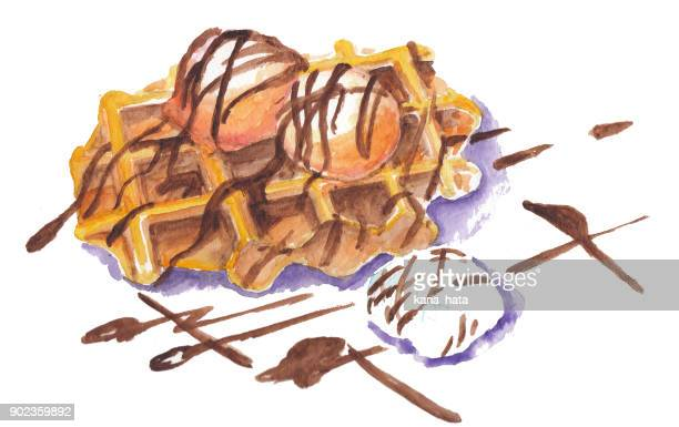 waffle with icecream watercolor illustration