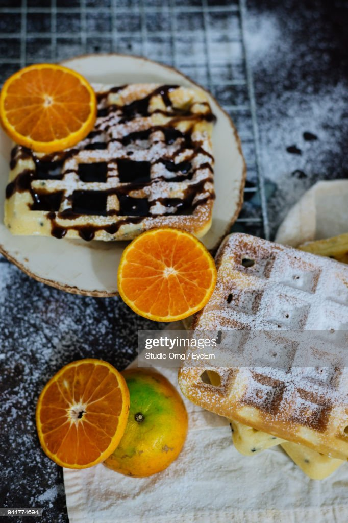 Waffle With Orange Fruits In Plate : Stock Photo