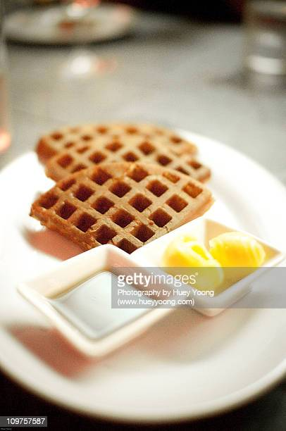 Waffles with butter & maple syrup