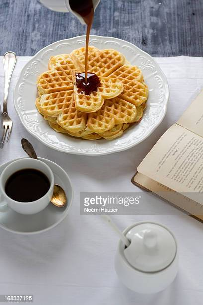 Waffles with cinnamon syrup