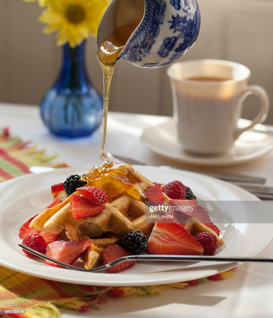 Waffles with mixed berries : Stock Photo