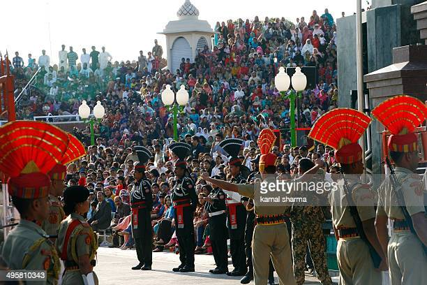 Wagah border, retreat ceremony where Both Indian and Pakistani officials meet during daily flag raising ceremony, an event visited daily by hundreds...