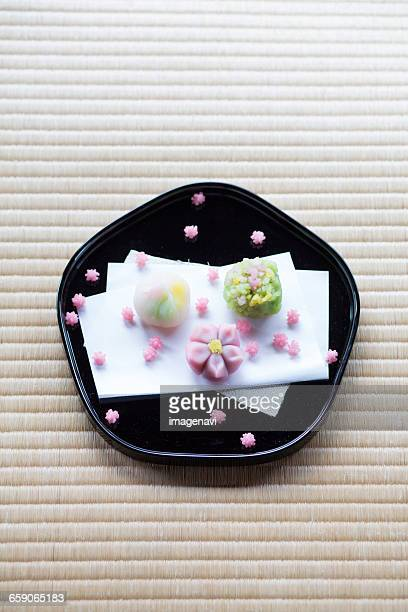 wagashi (japanese sweets) - wagashi stock pictures, royalty-free photos & images