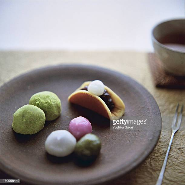 wagashi spring - mochi stock photos and pictures