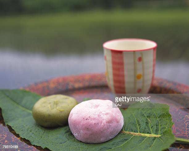 Wagashi, two types of Japanese sweets on leaf, Kusamochi and Umedaihuku, high angle view, Differential Focus