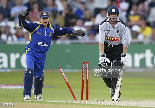 Wagg of Warwickshire is bowled out as Jonathan Batty of Surrey celebrates during the Surrey v Warwickshire Final of the Twenty20 competition at Trent...
