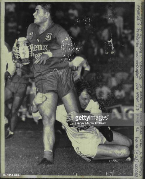 Wagga Adv Panaconic Cup Newcastle V Brisbane Newcastle's Tony Kemp breaks the tackle of Brisbane J BurnsTony Kemp This fellow could be anything The...