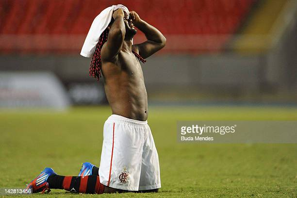 Wagner Love of Flamengo after a match between Flamengo and Lanus as part of the Copa Libertadores 2012 at Joao Havelange Stadium on April 12, 2012 in...