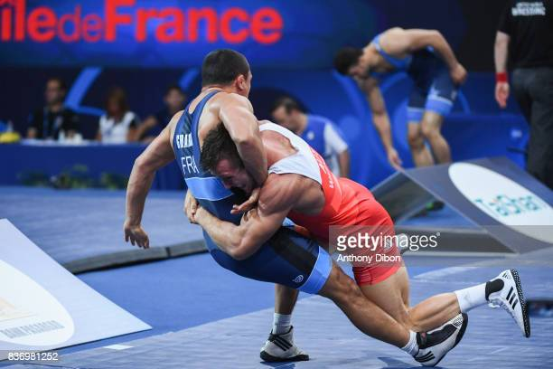 M Wagner of Austria and A Gharbi of France during the Men's 80 Kg GrecoRoman competition during the Paris 2017 World Championships at AccorHotels...