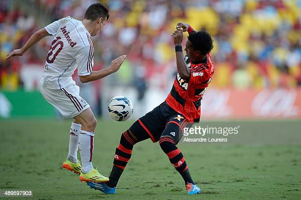 Wagner of Fluminense battles for the ball with Luiz Antonio of Flamengo during the match between Fluminense and FlamengoÊ as part of Brasileirao...