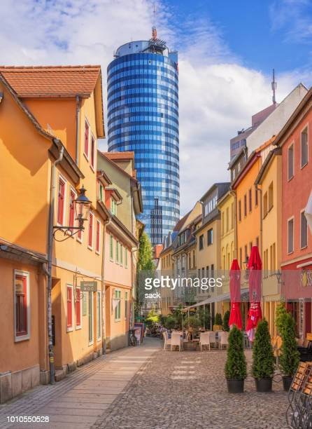 wagnergasse and tower jena - thuringia stock pictures, royalty-free photos & images