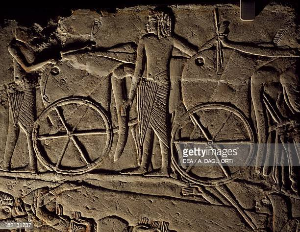 A wagon detail from the basreliefs on the Tomb of Horemheb at Saqqara 13321323 BC Egyptian civilisation New Kingdom Dynasty XVIII Bologna Museo...