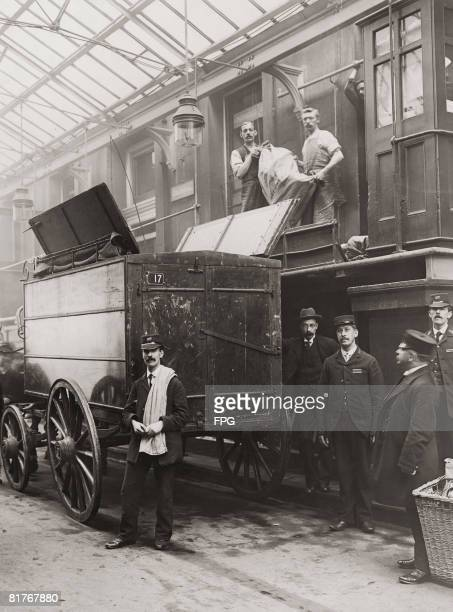 A wagon is loaded with mail for the inaugural dispatch of the new GPO Imperial Penny Post service London 1898