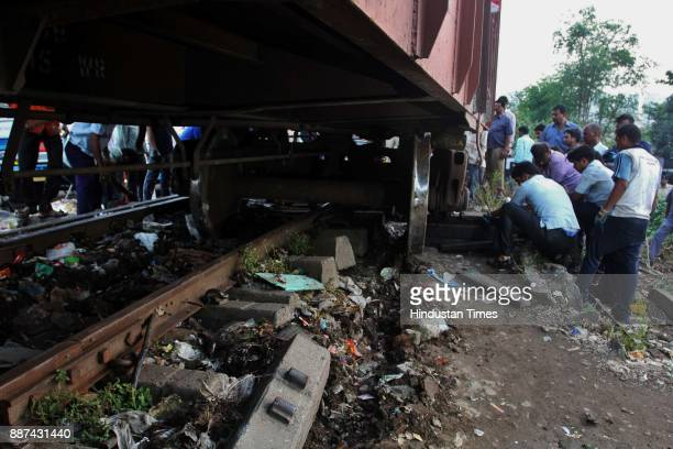 A wagon of a freight train derailed near the Parsik cod line track Near Kalwa on December 6 2017 in Mumbai India The derailment of a freight wagon...