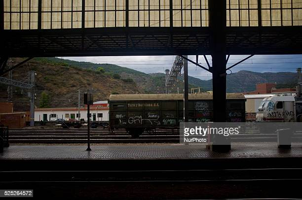 Wagon train remains on the tracks of Portbou Station, Spain on 3rd September, 2015. Portbou is the last Spanish seaside town before the border with...