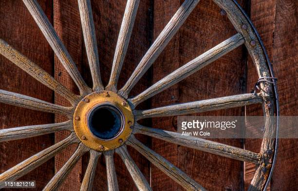 wagon wheel detail - steamboat springs colorado stock photos and pictures