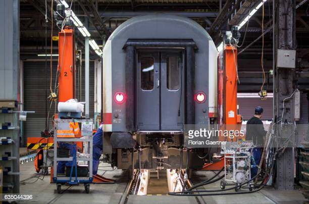 A wagon will be repaired at the railway plant in Neumuenster on February 07 2017 in Neumuenster Germany